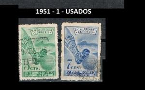 URUGUAY 1951-1 USADOS