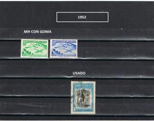 URUGUAY 1952-1 MH CON GOMA
