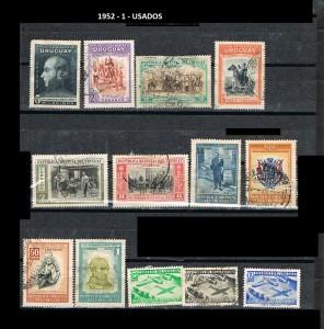URUGUAY 1952-1 USADOS