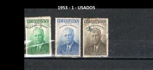 URUGUAY 1953-1 USADOS