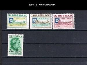 URUGUAY 1956-1 MH CON GOMA