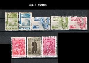 URUGUAY 1956-1 USADOS