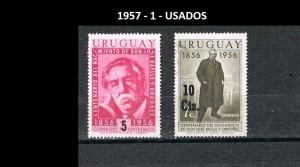 URUGUAY 1957-1 USADOS