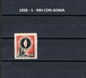 URUGUAY 1958-1 MH CON GOMA