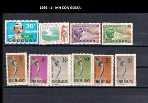 URUGUAY 1959-1 MH CON GOMA