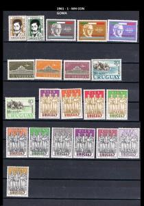 URUGUAY 1961-1 MH CON GOMA