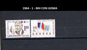 URUGUAY 1964-1 MH CON GOMA