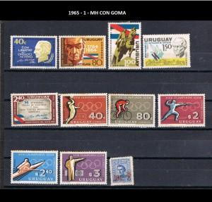 URUGUAY 1965-1 MH CON GOMA