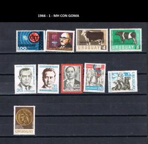 URUGUAY 1966-1 MH CON GOMA