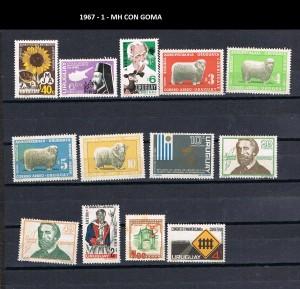URUGUAY 1967-1 MH CON GOMA