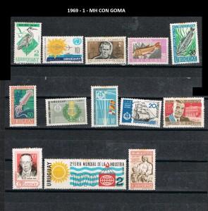 URUGUAY 1968- 1969-1 MH CON GOMA
