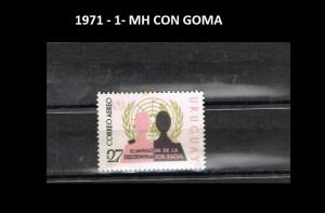 URUGUAY 1971-1 MH CON GOMA