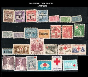 X COLOMBIA TASA POSTAL 1948-1970  70